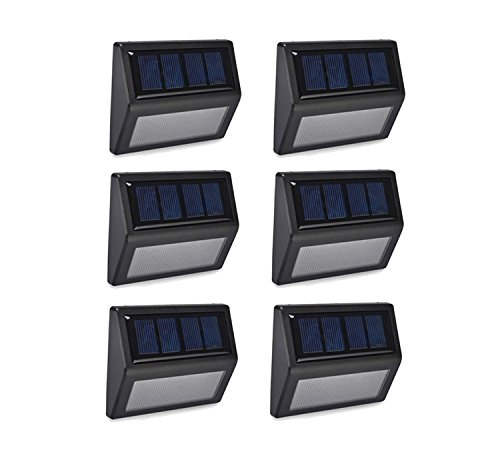 (ALEECYN 6 Pack Solar Powered Wall Light 6 LED Outdoor Stair Step Light/Wireless Waterproof Light-Sensor for Fence Patio Deck Garden Outside Wall Walkway (Warm Light))