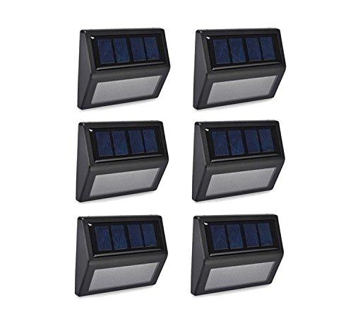 ALEECYN 6 Pack Solar Powered Wall Light 6 LED Outdoor Stair Step Light/Wireless Waterproof Light-Sensor for Fence Patio Deck Garden Outside Wall Walkway (Warm Light)