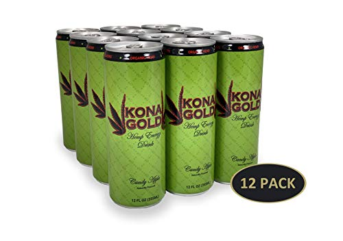 Kona Gold Candy Apple Hemp Energy Drink 12.0 Fluid Ounces, 12 Pack, Zero Calories, Zero Sugar, Natural Flavors, Organic -