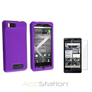 XMAS SALE!!! Hot new 2014 model For Motorola Droid X2 Premium Dark Purple Rubber Skin Case+Screen ProtectorCHOOSE COLOR