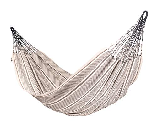 LA SIESTA Flora Zebra - Organic Cotton Kingsize Family Classic Hammock - Family hammock for whole families - 440 lb weight capacity - most comfortable when lying diagonally The number of suspension cords contributes to the comfort and durability of your hammock or hammock chair: The more cords there are, the more even the distribution of weight - providing a feeling of utter weightlessness The traditional plaits on hammocks from Colombia are considered a special quality feature. They are called Cadejos. Combined with a multitude of suspension cords they provide an optimum weight distribution, making the hammock extremely comfortable to lie in and improving its durability at the same time - patio-furniture, patio, hammocks - 41rxKfvObiL -