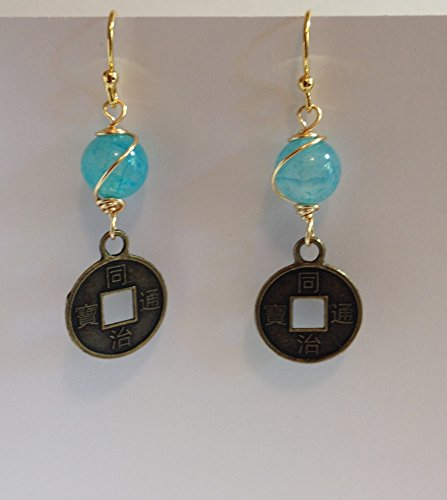 Spiritual Gemstone Good Fortune Coin Charm Yoga Earrings