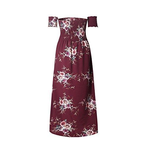 Robe Longue Imprim Vin Robe Boheme Bustier Floral Rouge Cocktail Femmes Shinekoo Manche Epaule Robe Nu Plage Soiree Maxi Courte CqPgx5