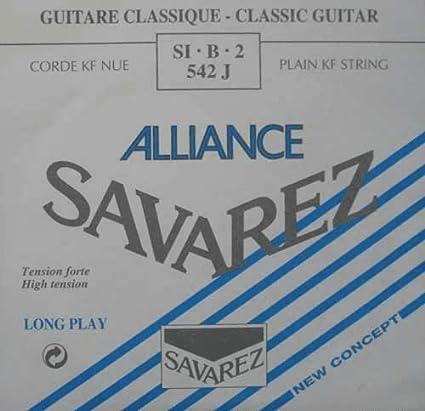 Savarez Cuerdas para Guitarra Clásica Alliance HT Classic 542J cuerda suelta Si2 Carbon high, adecuado para juego 540J, 500AJ, 510AJ