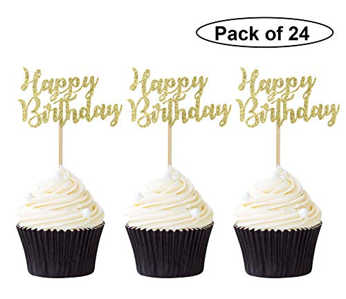 Pack of 24 Gold Happy Birthday Cupcake Toppers Party Cake Food Picks - Birthday Cupcake