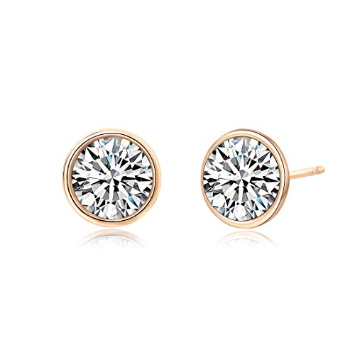 Crystals from Swarovski, 10MM Round-Cut Crystals Earrings with 14k Gold Plated Post, Hypoallergenic Earrings (Crystal) ()