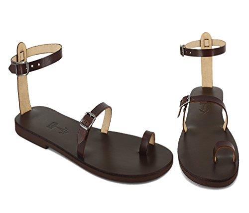 Calpas Handmade Toe Ring Cinturino Alla Caviglia Sandali In Pelle Fatti A Mano A Piedi Nudi Con Fibbie - Breeze Brown