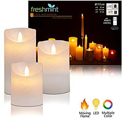 Flameless Candles Battery Operated with Remote, Real Moving Flame Decorative Electric LED Candle Sets Real Wax Flickering Pillar Candles Lights Bulk, 4