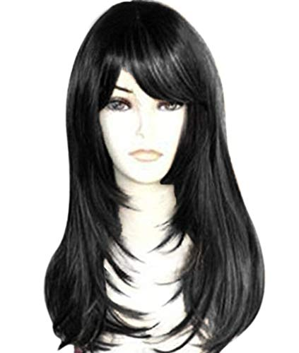 - Qaccf Long Straight Yaki Synthetic Fiber Layered Texture Women Wig with Full Bang (Black)