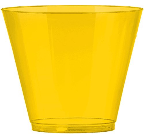 JAM PAPER Plastic Glasses Party Pack - 9 oz Tumblers - Yellow - 72 Hard Plastic Cups/Pack
