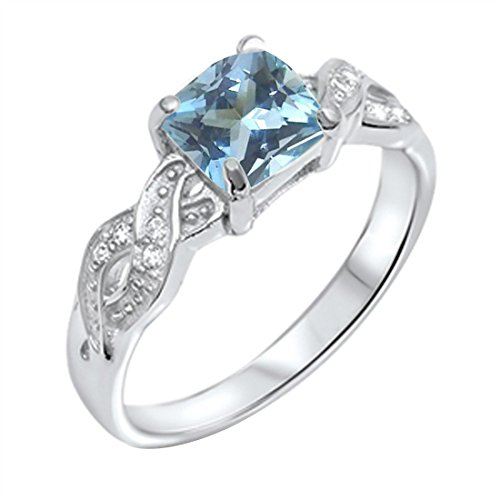 Blue Apple Co. Solitaire Infinity Shank Ring Simulated Aquamarine Princess Cut & Round CZ 925 Sterling - Aquamarine Round Set Wedding