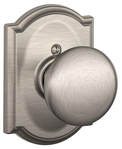 Schlage Lock Company Plymouth Knob with Camelot Trim Non-Turning Lock, Satin Nickel (F170 PLY 619 CAM)