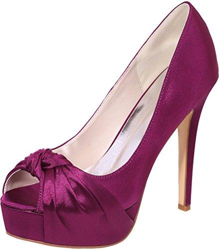 23A Work Satin Comfort Dress Purple Toe EU 3128 Sandals Peep Bride Bridesmaid Ladies 37 Wedding 5 Platform On Slip Knot Prom Party 4vnpdq