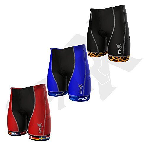 Sparx Men`s Competitor Tri Shorts | Triathlon Short | Great Durability and Fit | High End Compression (Second Skin) Triathlon Shorts with Soft Custom Chamois | Swim-Bike-Run (Flags, Large) (Skins Triathlon Shorts)