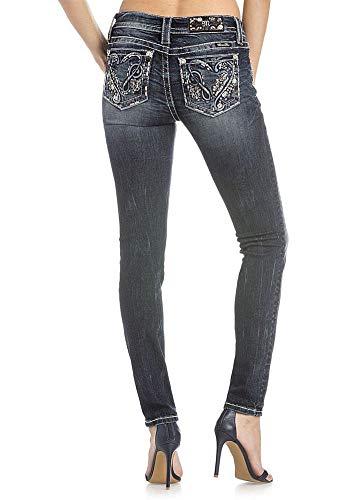 (Miss Me Loving Hearts Dark Skinny Jeans M3172S,Dk Blu,34)