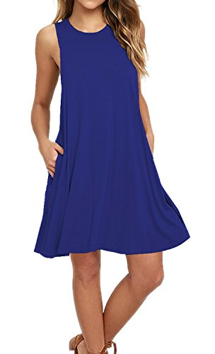 AUSELILY Women's Sleeveless Pockets Casual Swing T-shirt Dresses (M, Royal Blue)
