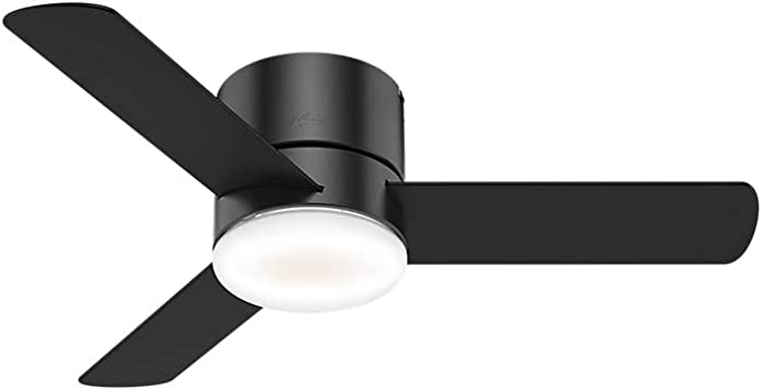 Hunter Minimus Indoor Low Profile Ceiling Fan With Led Light And Remote Control 44 Matte Black