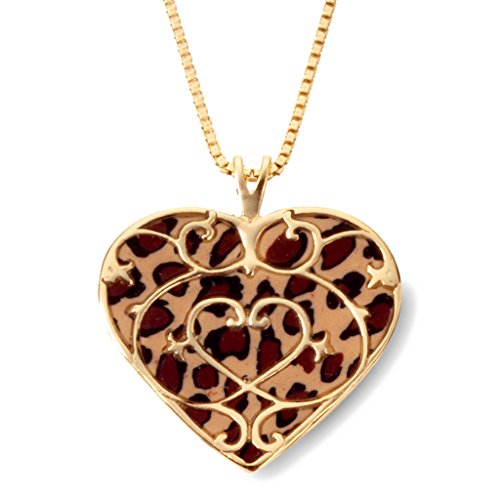 """Gold Plated Sterling Silver Heart Fleur de Lis Necklace Leopard Print Polymer Clay, 16.5"""" Gold Filled"""