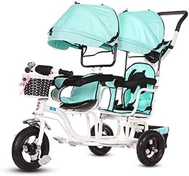 JHGK Triciclo para Niños, Carro De Parasol Doble con Ruedas De Titanio, Triciclo para Niños, Compras En Ciudad Doble De Acero con Alto Contenido De Carbono, Triciclo De Empuje Tricycle,1