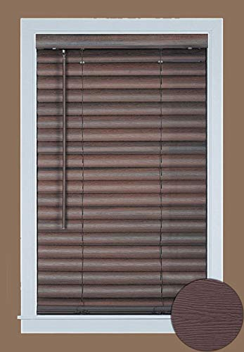 PowerSellerUSA Cordless Window Blinds, 2″ Slats Vinyl Mini Blind, Premium Quality Embossed Woodgrain, Anti-UV Window Treatment, Mahogany, 27″ Width x 64″ Length, (Fits Windows 18″ – 72″)