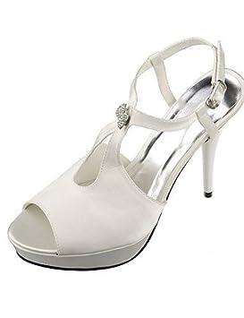 Peep Femmes Femme Toe Sandales Satin Talonssandales En Chaussures E2DW9HI