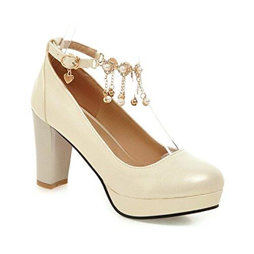 Hebilla Xie 40 Baja Redonda Zapatos Gran Tacones Palabra De Custom Boca Borla Gruesos Señoras Impermeable Cadena 36 La Plataforma Altos Tamaño Cabeza Una Meterswhite xHx46nR