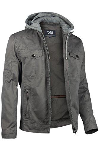 forro Chaqueta Oscuro de algodón primavera cortavientos capucha hombre de Gris para con y polar 88g1Sqwr