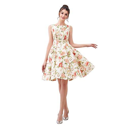 FiftiesChic 100% Cotton Sleeveless Polka Dot Floral 50s Vintage Rockabilly Swing Dress (XL (US8-10), Beige Peony) (Dress Tutu Peony)