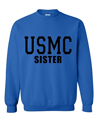 NIB USMC Sister Proud Marine Corps Match w Flag Hat Decal Sticker Patch Gift Unisex Crewneck Sweater