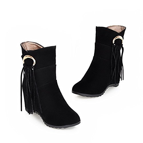AllhqFashion Womens Solid Kitten-Heels Round Closed Toe Imitated Suede Pull-On Boots Black mbmlz