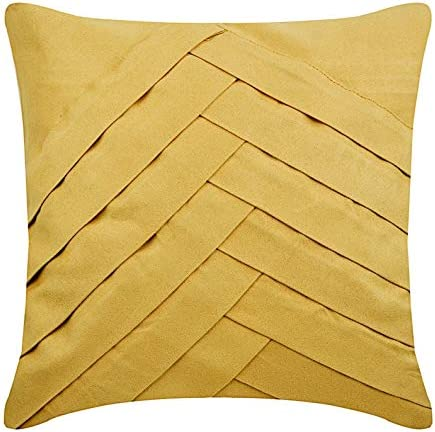 The HomeCentric Decorativo Oro Mate 30 x 30 cm Cojin Jardin, Ante Pintucks, Texturizados Cojin Jardin, A Rayas Contemporáneo - Gold No Limits No Lines: Amazon.es: Hogar