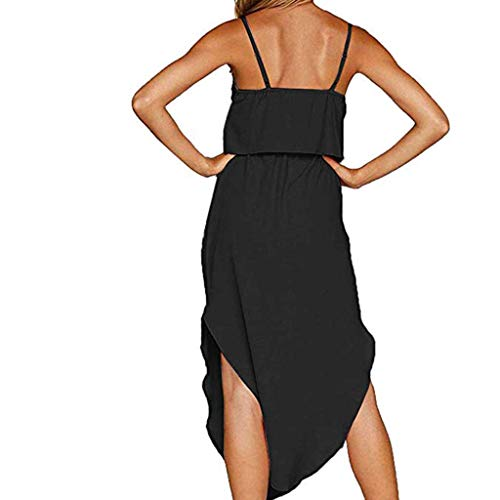 ✔ Hypothesis_X ☎ Women's Pregnant Solid Color Breastfeeding Sling Sleeveless Dress Casual Vest Dress for Breastfeeding Black -