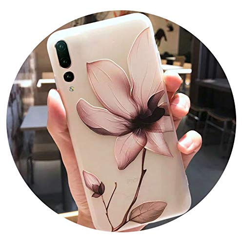 Cute Dog Cat Pink Flowers Slim Silicone Phone Case Fors for Huawei P20 Lite Case for Huawei P20 Pro P20 Lite Case Cover Girls,01,for Huawei P20 Pro