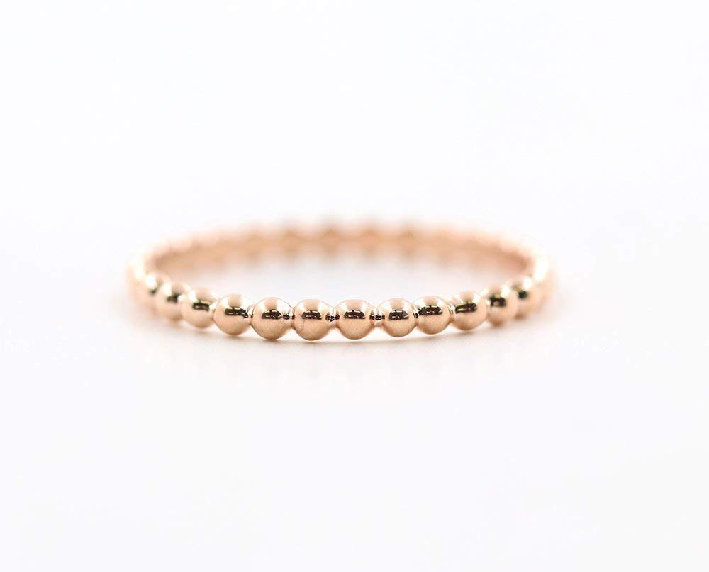 or Yellow Simple BEADED Solid Gold Wedding Band Minimalist Beaded Gold Band Delicate Stacking Gold Bead Ring White 1.7 MM 14K Rose