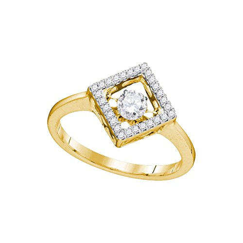 (Round Diamond Motion Ring Solid 10k Yellow Gold Square Halo Band Moving Twinkle Style Polished 1/5)
