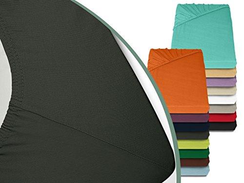 Jersey Spannbetttuch in bewährter Qualität - erhältlich in 16 modernen Farben und 5 verschiedenen Größen, 70 x 140 cm, anthrazit
