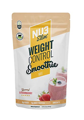 (NU3 Slim - The Weight Control Smoohie - Whey Protein Isolate GRASS FED, Fiber Mix Control your weight. Detoxify. Get the power of protein and fiber. For just 110 calories a day!)