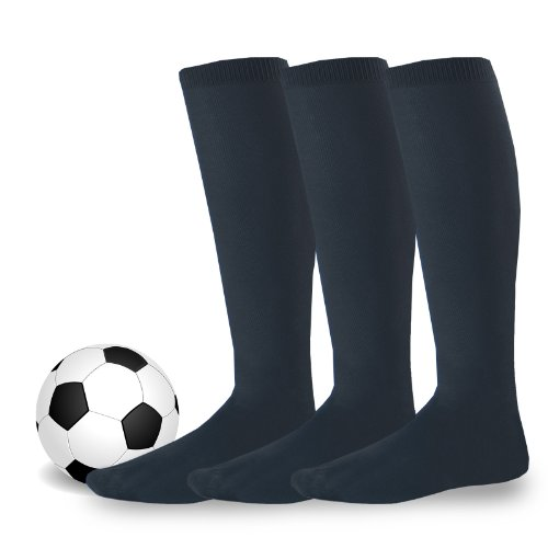 Soxnet Soccer Sports Team 3-pair Cushion Socks-Black, Medium