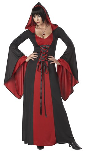 California Costumes Deluxe Hooded Robe Adult Costume, Red/Black, Small