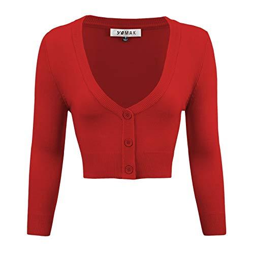 YEMAK Women's Cropped 3/4 Sleeve Bolero Button Down Cardigan Sweater - Skirts Pencil Rockabilly