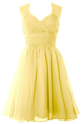Gown Vintage Canary Chiffon MACloth Dress Elegant Party Short Formal Bridesmaid Wedding vwqqzxInAX