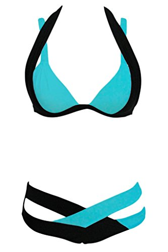 HOTAPEI Women Cross Double Colored Padded Push Up Halter Bikini Bra Set Swimsuit M - Bra Double Gel