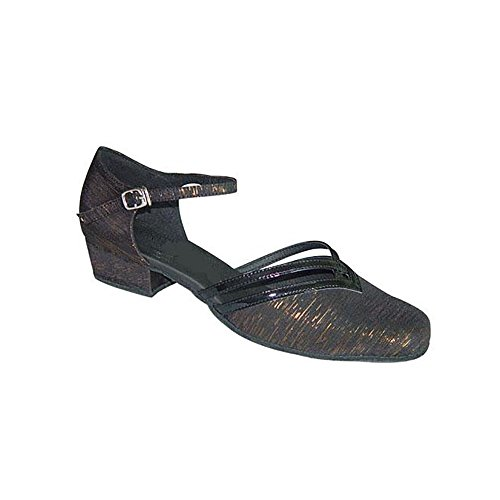 WDS Ladies Black/Gold Thread with Black Patent Closed Toe Dance Shoes for Line, Latin, Ballroom, Jive, Ceroc, Salsa & Tango UK 3-8 (888107)