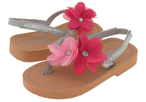 Capelli New York Glitter patent thong with flowers Toddler Girls Flip Flops Silver Combo 8/9
