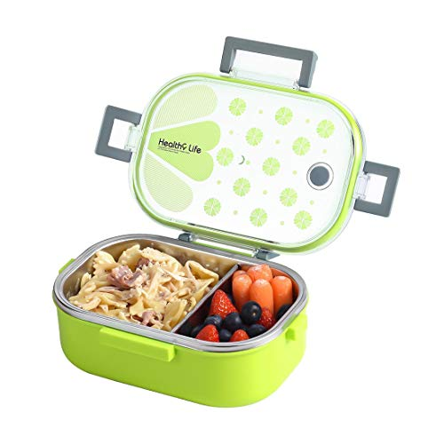 Insulated Lunch Box Containers 2 Compartments with Removable Divider, Leakproof Portion Control Stainless Steel Bento Boxes for Adults, Kids, School, Office, BPA Free (Rectangle, Green)
