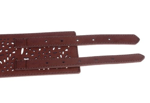 Herebuy - Vintage Leather Elastic Waist Belt Fashion Wide Belts for Women (Brown)