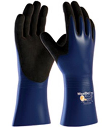 MaxiDry Plus 56-530/M Nitrile Coated Glove with Nylon/Lycra Liner and Non-Slip Grip on Palm and Fingers