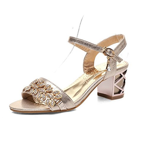 Allhqfashion Damesgesp Pu Open Teen Kitten Hakken Solide Sandalen Goud