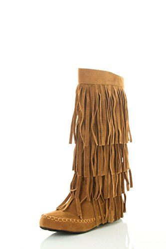 A.X.N.Y Women's Layered Fringe Detail Mid Calf Flat Moccasin Boot 8 Rust