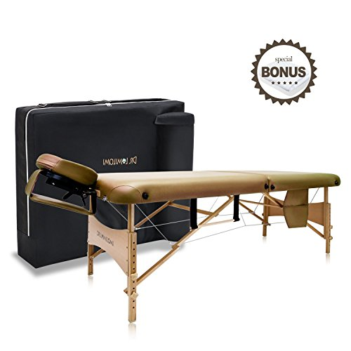 DR.LOMILOMI 30″ Medium-Size Portable Massage Table 004 Spa Bed with Towel Hanger & Oil Pouch (Tan)